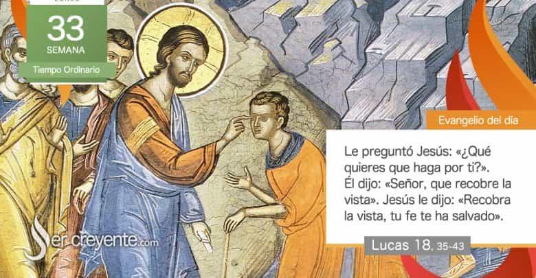 """Photo of Evangelio del día 16 noviembre 2020 (""""Señor, que recobre la vista"""")"""