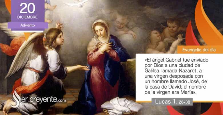"""Photo of Evangelio del día 20 diciembre 2020 (""""Alégrate, llena de gracia, el Señor está contigo"""")"""